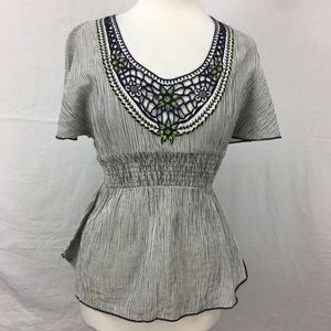 Free People Navy/White Striped Embroidered Top